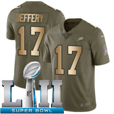 Youth Nike Philadelphia Eagles Super Bowl LII 17 Alshon Jeffery Limited OliveGold 2017 Salute to Service NFL Jersey