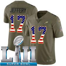Youth Nike Philadelphia Eagles Super Bowl LII 17 Alshon Jeffery Limited OliveUSA Flag 2017 Salute to Service NFL Jersey