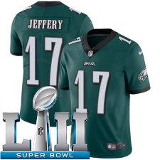 Youth Nike Philadelphia Eagles Super Bowl LII 17 Alshon Jeffery Vapor Untouchable Limited Midnight Green Team Color NFL Jersey