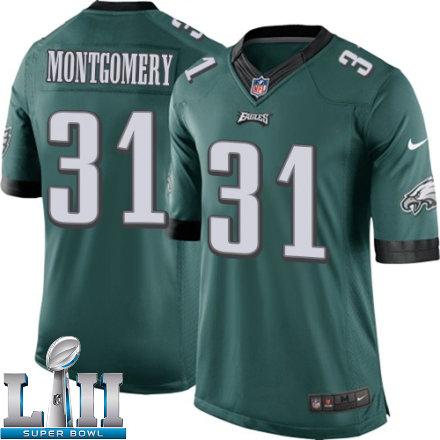 Youth Nike Philadelphia Eagles Super Bowl LII 31 Wilbert Montgomery Elite Midnight Green Team Color NFL Jersey