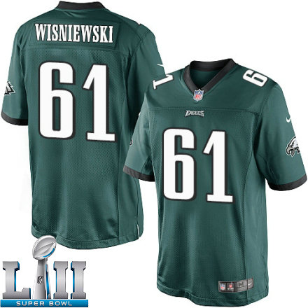 Youth Nike Philadelphia Eagles Super Bowl LII 61 Stefen Wisniewski Elite Midnight Green Team Color NFL Jersey