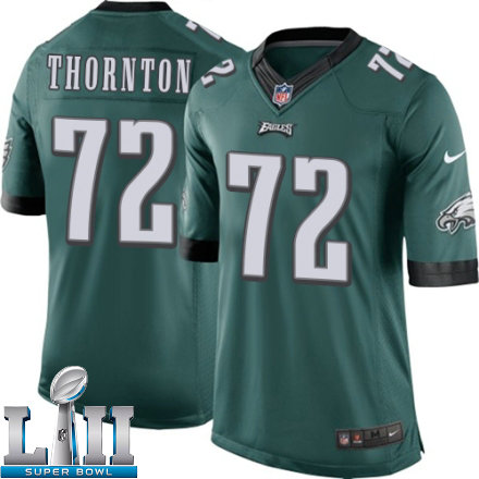 Youth Nike Philadelphia Eagles Super Bowl LII 72 Cedric Thornton Limited Midnight Green Team Color NFL Jersey