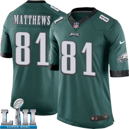 Youth Nike Philadelphia Eagles Super Bowl LII 81 Jordan Matthews Limited Midnight Green Team Color NFL Jersey