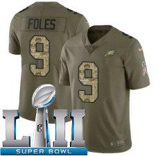 Youth Nike Philadelphia Eagles Super Bowl LII 9 Nick Foles Limited OliveCamo 2017 Salute to Service NFL Jersey