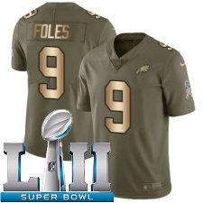 Youth Nike Philadelphia Eagles Super Bowl LII 9 Nick Foles Limited OliveGold 2017 Salute to Service NFL Jersey