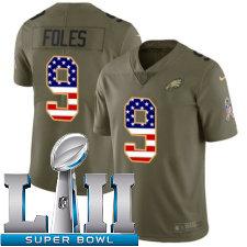Youth Nike Philadelphia Eagles Super Bowl LII 9 Nick Foles Limited OliveUSA Flag 2017 Salute to Service NFL Jersey