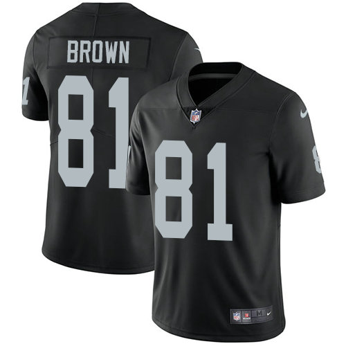 Youth Nike Raiders #81 Tim Brown Black Team Color NFL Vapor Untouchable Limited Jersey