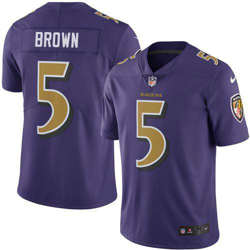 Youth Nike Ravens #5 Marquise Brown Purple Youth Stitched NFL Limited Rush Jersey