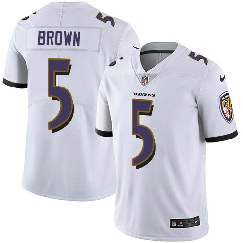 Youth Nike Ravens #5 Marquise Brown White Youth Stitched NFL Vapor Untouchable Limited Jersey