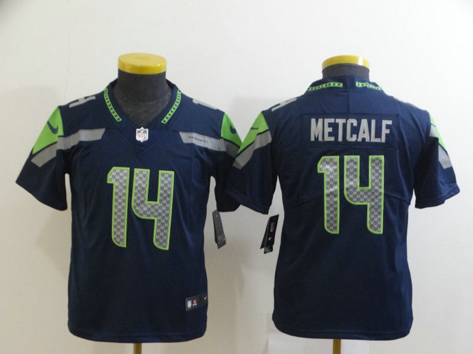 Youth Nike Seahawks 14 DK Metcalf Navy Youth Vapor Untouchable Limited Jersey