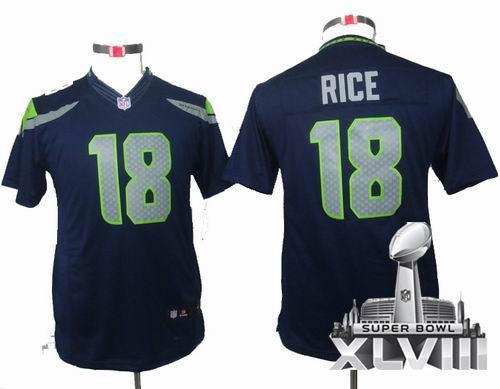Youth Nike Seattle Seahawks 18# Sidney Rice team color limited 2014 Super bowl XLVIII(GYM) Jersey