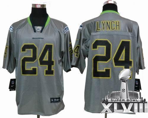 Youth Nike Seattle Seahawks 24# Marshawn Lynch  Lights Out grey elite 2014 Super bowl XLVIII(GYM) Jersey