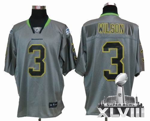 Youth Nike Seattle Seahawks 3# Russell Wilson  Lights Out grey elite 2014 Super bowl XLVIII(GYM) Jersey
