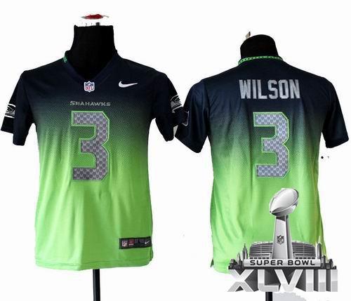 Youth Nike Seattle Seahawks 3# Russell Wilson Elite Drift II Fashion 2014 Super bowl XLVIII(GYM) Jersey