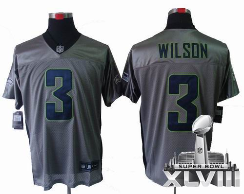 Youth Nike Seattle Seahawks 3# Russell Wilson Gray shadow elite 2014 Super bowl XLVIII(GYM) Jersey