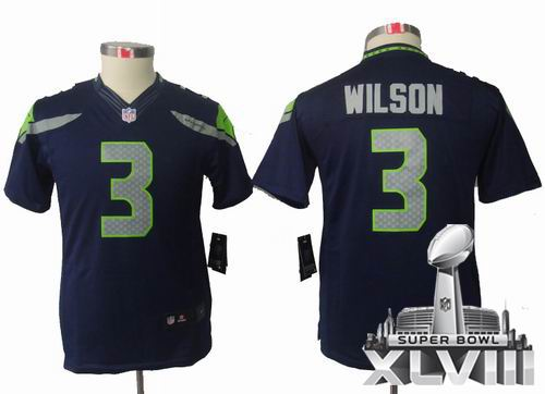 Youth Nike Seattle Seahawks 3# Russell Wilson Team Color limited 2014 Super bowl XLVIII(GYM) Jersey