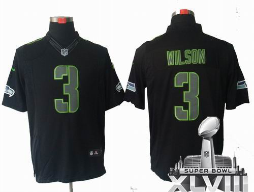 Youth Nike Seattle Seahawks 3# Russell Wilson black Impact Limited 2014 Super bowl XLVIII(GYM) Jersey