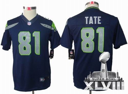 Youth Nike Seattle Seahawks 81# Golden Tate limited Team Color 2014 Super bowl XLVIII(GYM) Jersey