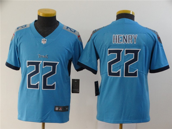 Youth Nike Titans 22 Derrick Henry Blue Youth New Vapor Untouchable Player Limited Jersey