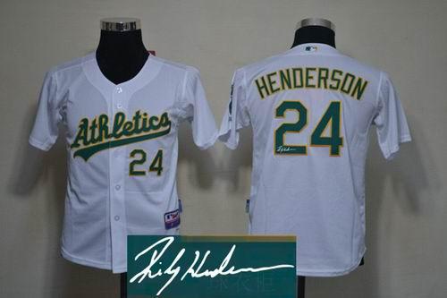 Youth Oakland Athletics 24 Ricky Henderson white signature Jerseys