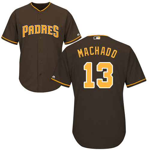Youth Padres #13 Manny Machado Brown Cool Base Stitched Youth Baseball Jersey