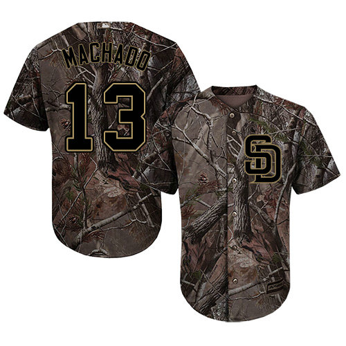 Youth Padres #13 Manny Machado Camo Realtree Collection Cool Base Stitched Youth Baseball Jersey