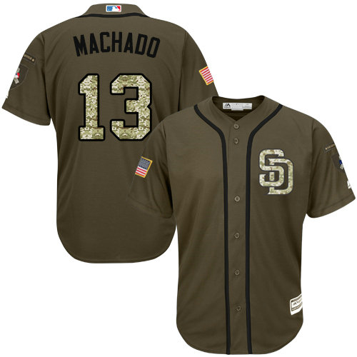 Youth Padres #13 Manny Machado Green Salute to Service Stitched Youth Baseball Jersey