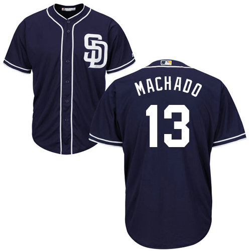 Youth Padres #13 Manny Machado Navy blue Cool Base Stitched Youth Baseball Jersey