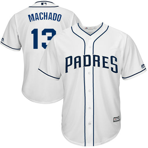 Youth Padres #13 Manny Machado White Cool Base Stitched Youth Baseball Jersey