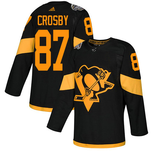 Youth Penguins #87 Sidney Crosby Black Authentic 2019 Stadium Series Stitched Youth Hockey Jersey