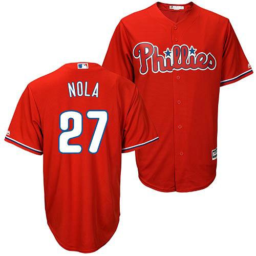 Youth Philadelphia Phillies #27 Aaron Nola Red Cool Base MLB Jersey1