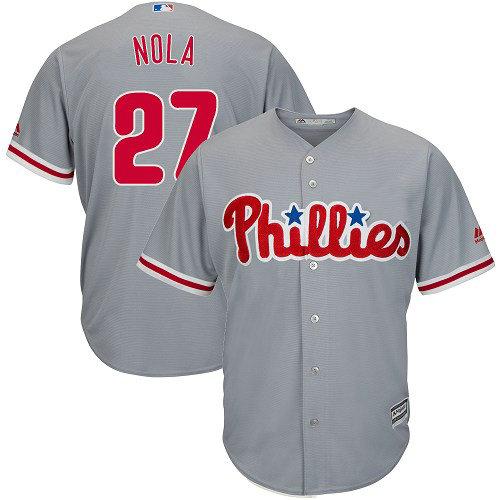 Youth Philadelphia Phillies #27 Aaron Nola Replica Grey Road Cool Base MLB Jersey1