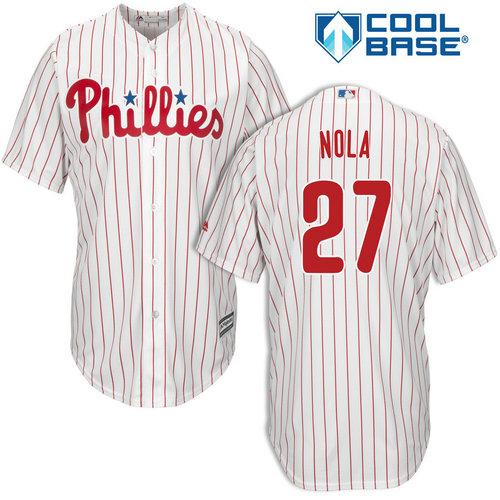 Youth Philadelphia Phillies #27 Aaron Nola White Cool Base MLB Jersey