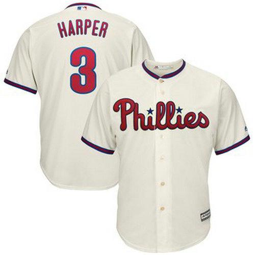 Youth Philadelphia Phillies #3 Bryce Harper Cream Alternate Cool Base Jersey