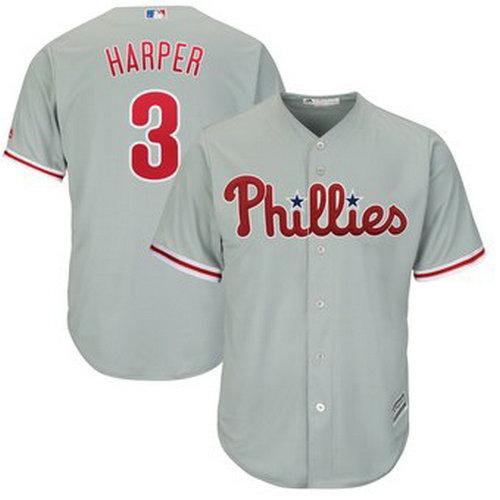 Youth Philadelphia Phillies #3 Bryce Harper Majestic Gray Jersey