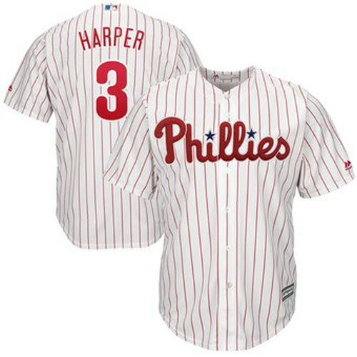 Youth Philadelphia Phillies #3 Bryce Harper White Home Cool Base Jersey