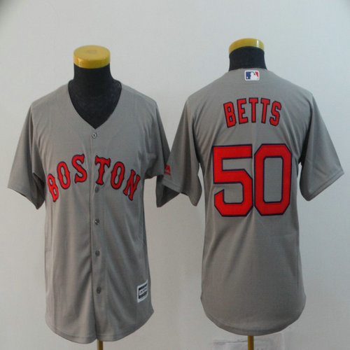 Youth Red Sox 50 Mookie Betts Gray Youth Cool Base Jersey