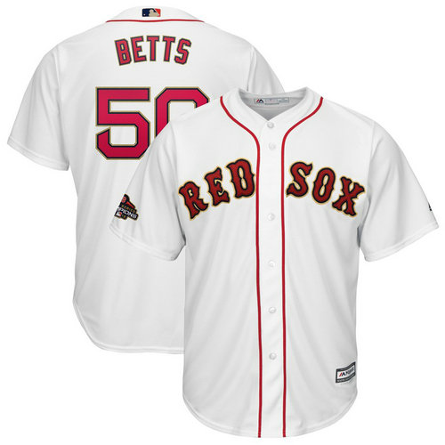 Youth Red Sox 50 Mookie Betts White Youth 2019 Gold Program Cool Base Jersey