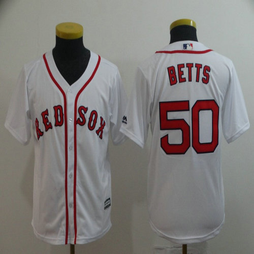 Youth Red Sox 50 Mookie Betts White Youth Cool Base Jersey