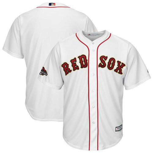 Youth Red Sox Blank White Youth 2019 Gold Program Cool Base Jersey