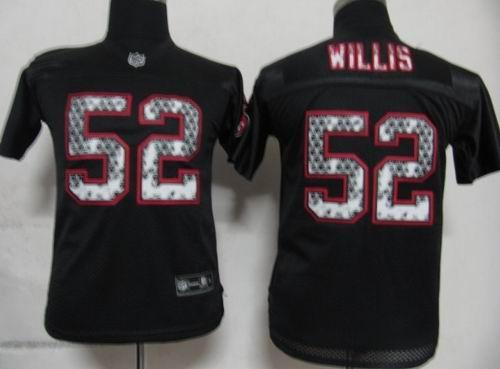Youth San Francisco 49ers 52 Patrick Willis Black United Sideline Jerseys