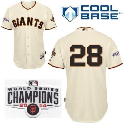Youth San Francisco Giants 28 Buster Posey Cream 2014 World Series Champions Patch Stitched MLB Baseball Jersey