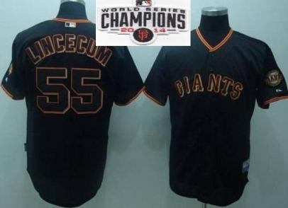 Youth San Francisco Giants 55 Tim Lincecum Black 2014 World Series Champions Patch Stitched MLB Baseball Jersey