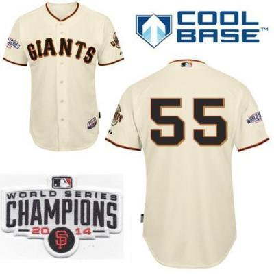 Youth San Francisco Giants 55 Tim Lincecum Cream 2014 World Series Champions Patch Stitched MLB Baseball Jersey