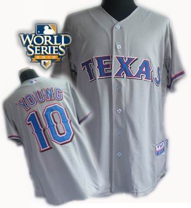 Youth Texas Rangers #10 Michael Young 2010 World Series Patch Cream jerseys gray