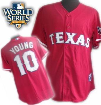 Youth Texas Rangers #10 Michael Young 2010 World Series Patch Cream jerseys red