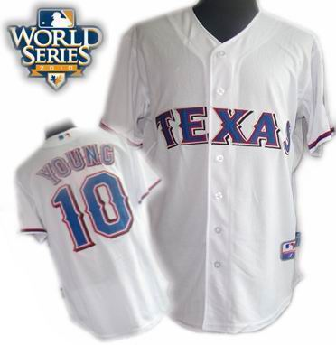 Youth Texas Rangers #10 Michael Young 2010 World Series Patch jerseys white