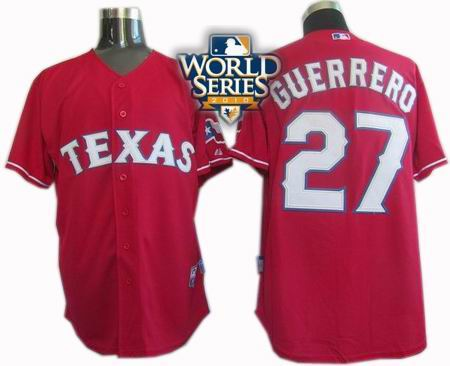 Youth Texas Rangers #27 Vladimir Guerrero 2010 World Series Patch Jersey red