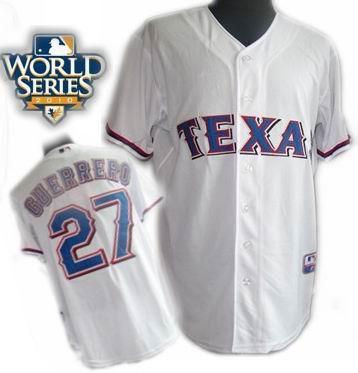 Youth Texas Rangers #27 Vladimir Guerrero Home 2010 World Series Patch jerseys white