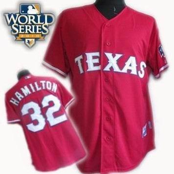 Youth Texas Rangers #32 Josh Hamilton 2010 World Series Patch jerseys red